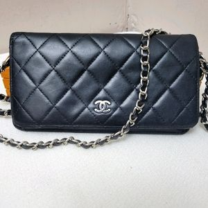 Authentic Chanel flap Quilted lambskin wallet